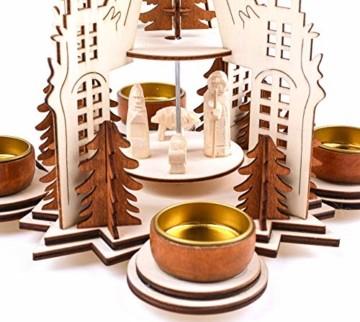 Brubaker Weihnachtspyramide Kathedrale 29 cm - Maria, Josef und Jesus - 2 Etagen - Teelichtpyramide mit 4 Teelichthaltern aus Metall - Holz Natur - 2