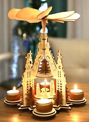 Brubaker Weihnachtspyramide Kathedrale 29 cm - Maria, Josef und Jesus - 2 Etagen - Teelichtpyramide mit 4 Teelichthaltern aus Metall - Holz Natur - 3