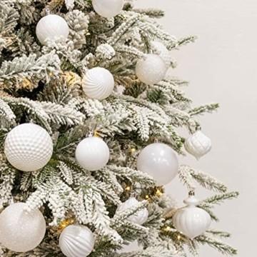Busybee weihnachtskugeln 20 Stücke 8CM Ornamente für Weihnachtsbaum Weiß Christbaumkugeln Weihnachtsdekoration Kugeln - 4