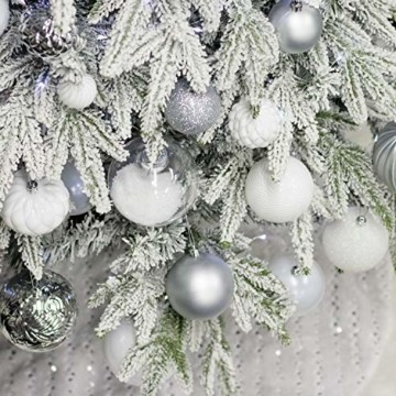 Busybee weihnachtskugeln 20 Stücke 8CM Ornamente für Weihnachtsbaum Weiß Christbaumkugeln Weihnachtsdekoration Kugeln - 5
