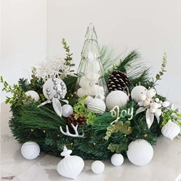 Busybee weihnachtskugeln 20 Stücke 8CM Ornamente für Weihnachtsbaum Weiß Christbaumkugeln Weihnachtsdekoration Kugeln - 6
