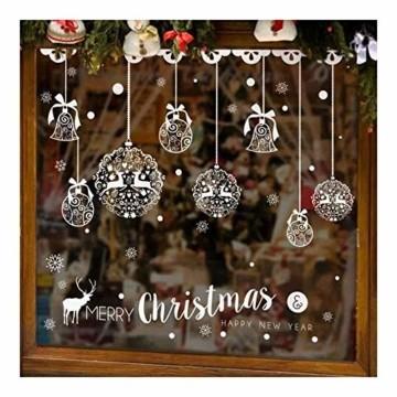 Caiery 185 pcs Schneeflocken Rentier Fensterbild, Statisch Haftende PVC Aufklebe,Winter-deko Weinachts Dekoration, Weihnachten Fenstersticker, Winter Deko Weihnachtsdeko - 7