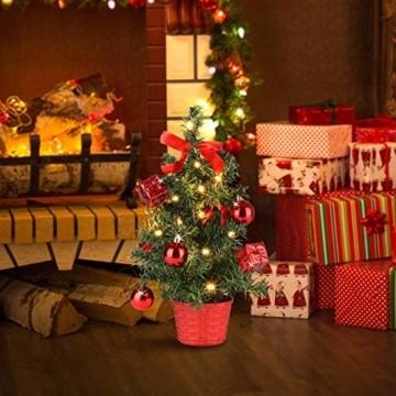 Casaria Weihnachtsbaum 36 cm künstlicher Tannenbaum Mini LED Lichterkette Christbaum Baum Tanne Weihnachten Ständer - 2