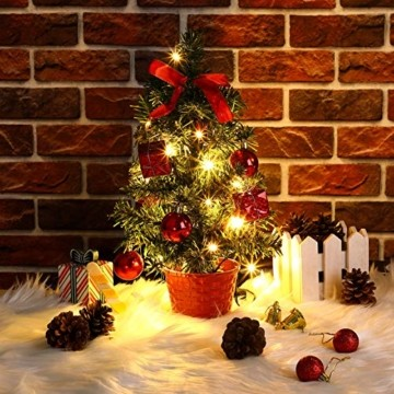 Casaria Weihnachtsbaum 36 cm künstlicher Tannenbaum Mini LED Lichterkette Christbaum Baum Tanne Weihnachten Ständer - 3