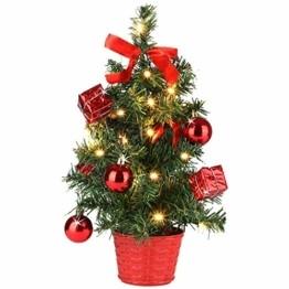 Casaria Weihnachtsbaum 36 cm künstlicher Tannenbaum Mini LED Lichterkette Christbaum Baum Tanne Weihnachten Ständer - 1