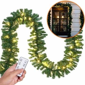 Casaria Weihnachtsgirlande 5m Fernbedienung 100 LEDs Innen Außen Girlande Weihnachten Weihnachtsdeko Tannengirlande weiß - 2