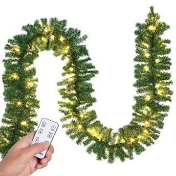 Casaria Weihnachtsgirlande 5m Fernbedienung 100 LEDs Innen Außen Girlande Weihnachten Weihnachtsdeko Tannengirlande weiß - 1