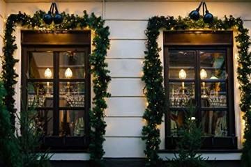 Casaria Weihnachtsgirlande 5m Fernbedienung 100 LEDs Innen Außen Girlande Weihnachten Weihnachtsdeko Tannengirlande weiß - 5