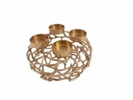 CB Home % Style Adventskranz Kerzenhalter Aluminium Gold Metall Durchmesser 35 cm Weihnachten - 1