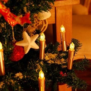 CCLIFE TÜV GS LED Weihnachtskerzen Kabellos RGB Kerzen Bunt Weihnachtsbaumkerzen Christbaumkerzen mit Fernbedienung Timer Kerzenlichter, Farbe:Gold, Größe:20er - 3