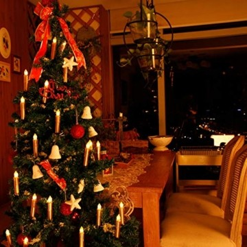 CCLIFE TÜV GS LED Weihnachtskerzen Kabellos RGB Kerzen Bunt Weihnachtsbaumkerzen Christbaumkerzen mit Fernbedienung Timer Kerzenlichter, Farbe:Gold, Größe:20er - 4