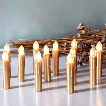 CCLIFE TÜV GS LED Weihnachtskerzen Kabellos RGB Kerzen Bunt Weihnachtsbaumkerzen Christbaumkerzen mit Fernbedienung Timer Kerzenlichter, Farbe:Gold, Größe:20er - 1