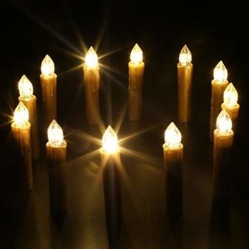 CCLIFE TÜV GS LED Weihnachtskerzen Kabellos RGB Kerzen Bunt Weihnachtsbaumkerzen Christbaumkerzen mit Fernbedienung Timer Kerzenlichter, Farbe:Gold, Größe:20er - 5