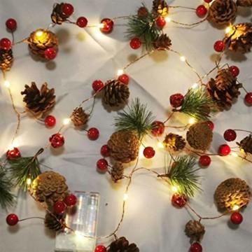Chaohua Weihnachten LED Tannenzapfen Lichtschnur Weihnachtsbaum Dekoration Lichtschnur 20LED Weihnachtsbaumgirlande - 2