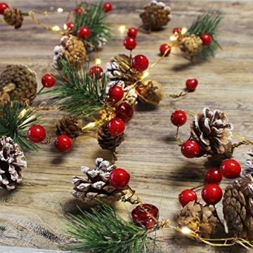 Chaohua Weihnachten LED Tannenzapfen Lichtschnur Weihnachtsbaum Dekoration Lichtschnur 20LED Weihnachtsbaumgirlande - 1