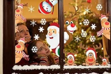 CheChury Fensterbilder für Weihnachten Fensterbilder Winter Statisch Haftende PVC Aufklebe Weihnachtsmann Süße Elche Wiederverwendbar Schneeflocken Fenster - 2