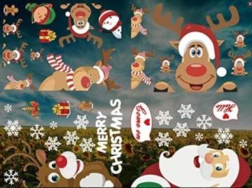 CheChury Fensterbilder für Weihnachten Fensterbilder Winter Statisch Haftende PVC Aufklebe Weihnachtsmann Süße Elche Wiederverwendbar Schneeflocken Fenster - 5