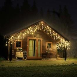 CLGarden Premium Eisregen Lichterkette außen 600 LED warmweiß 12m Timer 5 Jahre Garantie - 1
