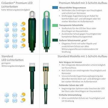 CLGarden Premium Eisregen Lichterkette außen 600 LED warmweiß 12m Timer 5 Jahre Garantie - 6
