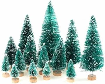CODIRATO 48 Stück Kleiner Weihnachtsbaum Tischdeko Tannenbaum Spritzguss Künstlicher Mini Christbaum mit Schnee EffektMiniatur Grün Schneetannen 3,5/4,5/6,5/8,5/12,5/16cm für Weihnachten Deko - 3