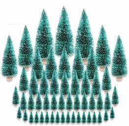 CODIRATO 48 Stück Kleiner Weihnachtsbaum Tischdeko Tannenbaum Spritzguss Künstlicher Mini Christbaum mit Schnee EffektMiniatur Grün Schneetannen 3,5/4,5/6,5/8,5/12,5/16cm für Weihnachten Deko - 1