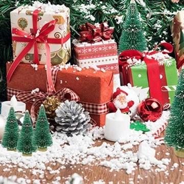 CODIRATO 48 Stück Kleiner Weihnachtsbaum Tischdeko Tannenbaum Spritzguss Künstlicher Mini Christbaum mit Schnee EffektMiniatur Grün Schneetannen 3,5/4,5/6,5/8,5/12,5/16cm für Weihnachten Deko - 4