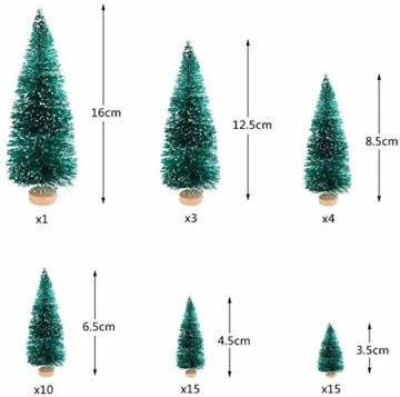 CODIRATO 48 Stück Kleiner Weihnachtsbaum Tischdeko Tannenbaum Spritzguss Künstlicher Mini Christbaum mit Schnee EffektMiniatur Grün Schneetannen 3,5/4,5/6,5/8,5/12,5/16cm für Weihnachten Deko - 5