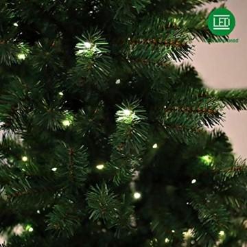 Collen Tannenbaum Künstlich Weihnachtsbaum grün Christbaum Tanne Weihnachtsdeko, mit Metall Christbaum Ständer und 150 LEDs Lichterketten für 8 Beleuchtungsmodi (1.5m) - 2