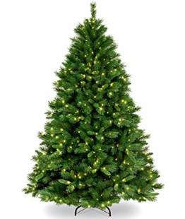 Collen Tannenbaum Künstlich Weihnachtsbaum grün Christbaum Tanne Weihnachtsdeko, mit Metall Christbaum Ständer und 150 LEDs Lichterketten für 8 Beleuchtungsmodi (1.5m) - 1