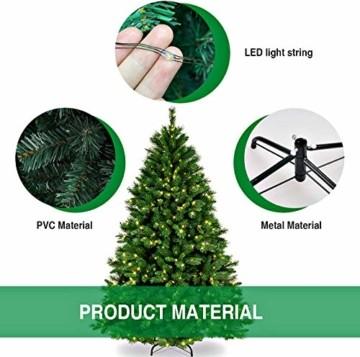 Collen Tannenbaum Künstlich Weihnachtsbaum grün Christbaum Tanne Weihnachtsdeko, mit Metall Christbaum Ständer und 150 LEDs Lichterketten für 8 Beleuchtungsmodi (1.5m) - 5