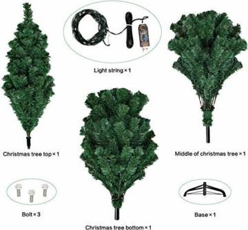 Collen Tannenbaum Künstlich Weihnachtsbaum grün Christbaum Tanne Weihnachtsdeko, mit Metall Christbaum Ständer und 150 LEDs Lichterketten für 8 Beleuchtungsmodi (1.5m) - 7