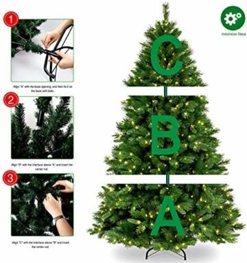 Collen Tannenbaum Künstlich Weihnachtsbaum grün Christbaum Tanne Weihnachtsdeko, mit Metall Christbaum Ständer und 150 LEDs Lichterketten für 8 Beleuchtungsmodi (1.5m) - 8