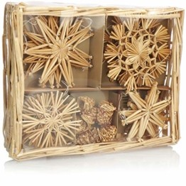 com-four® 26x Strohsterne im Mix-Set - Christbaum-Schmuck - Stroh-Anhänger für den Weihnachtsbaum - natürlicher Christbaum-Behang - Weihnachtsdekoratio (026-teilig - Set3) - 1