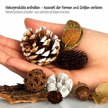 com-four® 3X Weihnachtsdekoration im Beutel mit Zapfen und Zweigen - Streudeko weihnachtlich - Bastel Set - Tischdeko - Adventskranz - Weihnachtsschmuck (3X Beutel: Zapfen braun/weiß. Zweige) - 3