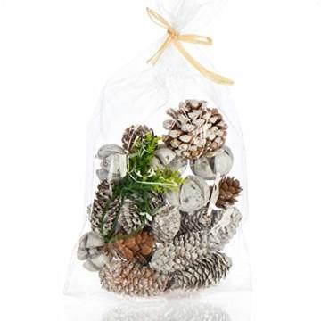 com-four® 3X Weihnachtsdekoration im Beutel mit Zapfen und Zweigen - Streudeko weihnachtlich - Bastel Set - Tischdeko - Adventskranz - Weihnachtsschmuck (3X Beutel: Zapfen braun/weiß. Zweige) - 4