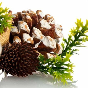 com-four® 3X Weihnachtsdekoration im Beutel mit Zapfen und Zweigen - Streudeko weihnachtlich - Bastel Set - Tischdeko - Adventskranz - Weihnachtsschmuck (3X Beutel: Zapfen braun/weiß. Zweige) - 5