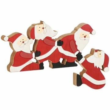 com-four® Kantenhocker Weihnachtsmann aus Holz - Kantensitzer Weihnachten - Weihnachtsdekoration - Fensterbrett-Deko - Tischdeko - Weihnachten (Weihnachtsmänner) - 1