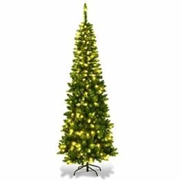 COSTWAY 135/200cm Bleistift Weihnachtsbaum mit warmweißen LED-Leuchten, künstlicher Tannenbaum mit Klappsystem und Metallständer, Christbaum PVC Nadeln, Kunstbaum Weihnachten Grün (200cm) - 1