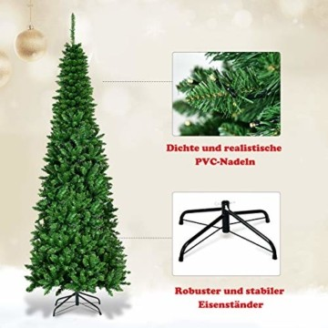 COSTWAY 135/200cm Bleistift Weihnachtsbaum mit warmweißen LED-Leuchten, künstlicher Tannenbaum mit Klappsystem und Metallständer, Christbaum PVC Nadeln, Kunstbaum Weihnachten Grün (200cm) - 4