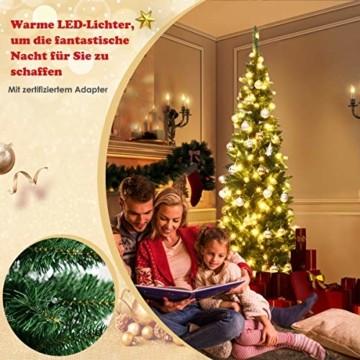 COSTWAY 135/200cm Bleistift Weihnachtsbaum mit warmweißen LED-Leuchten, künstlicher Tannenbaum mit Klappsystem und Metallständer, Christbaum PVC Nadeln, Kunstbaum Weihnachten Grün (200cm) - 5