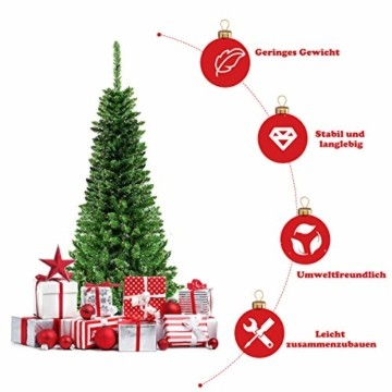 COSTWAY 135/200cm Bleistift Weihnachtsbaum mit warmweißen LED-Leuchten, künstlicher Tannenbaum mit Klappsystem und Metallständer, Christbaum PVC Nadeln, Kunstbaum Weihnachten Grün (200cm) - 6