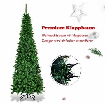 COSTWAY 135/200cm Bleistift Weihnachtsbaum mit warmweißen LED-Leuchten, künstlicher Tannenbaum mit Klappsystem und Metallständer, Christbaum PVC Nadeln, Kunstbaum Weihnachten Grün (200cm) - 7