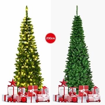 COSTWAY 135/200cm Bleistift Weihnachtsbaum mit warmweißen LED-Leuchten, künstlicher Tannenbaum mit Klappsystem und Metallständer, Christbaum PVC Nadeln, Kunstbaum Weihnachten Grün (200cm) - 8