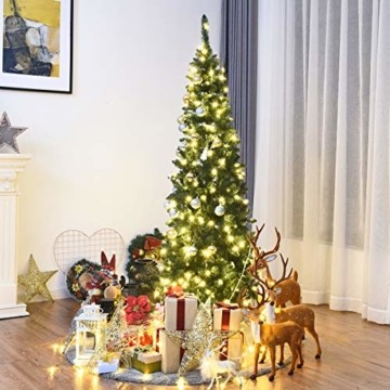 COSTWAY 135/200cm Bleistift Weihnachtsbaum mit warmweißen LED-Leuchten, künstlicher Tannenbaum mit Klappsystem und Metallständer, Christbaum PVC Nadeln, Kunstbaum Weihnachten Grün (200cm) - 9