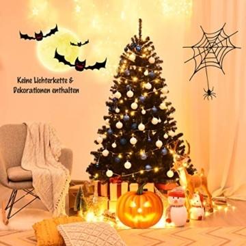 COSTWAY 180cm/225cm Künstlicher Weihnachtsbaum schwarz, Tannenbaum mit Metallständer, Christbaum PVC Spitzen, Kunstbaum Weihnachten Klappsystem ideal für Zuhause, Büro, Geschäfte und Hotels (180cm) - 2