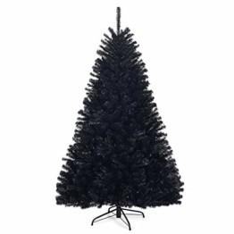 COSTWAY 180cm/225cm Künstlicher Weihnachtsbaum schwarz, Tannenbaum mit Metallständer, Christbaum PVC Spitzen, Kunstbaum Weihnachten Klappsystem ideal für Zuhause, Büro, Geschäfte und Hotels (180cm) - 1
