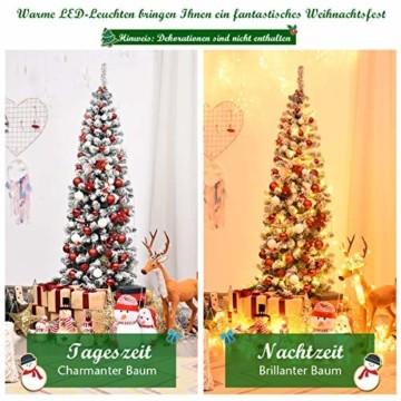COSTWAY 180cm Bleistift Weihnachtsbaum mit Schnee und 250 warmweißen LED-Leuchten, künstlicher Tannenbaum mit Metallständer, Christbaum 500 Spitzen PVC Nadeln, Kunstbaum Weihnachten Klappsystem Grün - 3