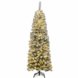 COSTWAY 180cm Bleistift Weihnachtsbaum mit Schnee und 250 warmweißen LED-Leuchten, künstlicher Tannenbaum mit Metallständer, Christbaum 500 Spitzen PVC Nadeln, Kunstbaum Weihnachten Klappsystem Grün - 1