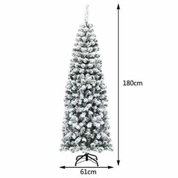 COSTWAY 180cm Bleistift Weihnachtsbaum mit Schnee und 250 warmweißen LED-Leuchten, künstlicher Tannenbaum mit Metallständer, Christbaum 500 Spitzen PVC Nadeln, Kunstbaum Weihnachten Klappsystem Grün - 4