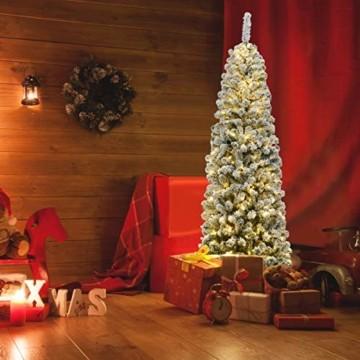 COSTWAY 180cm Bleistift Weihnachtsbaum mit Schnee und 250 warmweißen LED-Leuchten, künstlicher Tannenbaum mit Metallständer, Christbaum 500 Spitzen PVC Nadeln, Kunstbaum Weihnachten Klappsystem Grün - 5